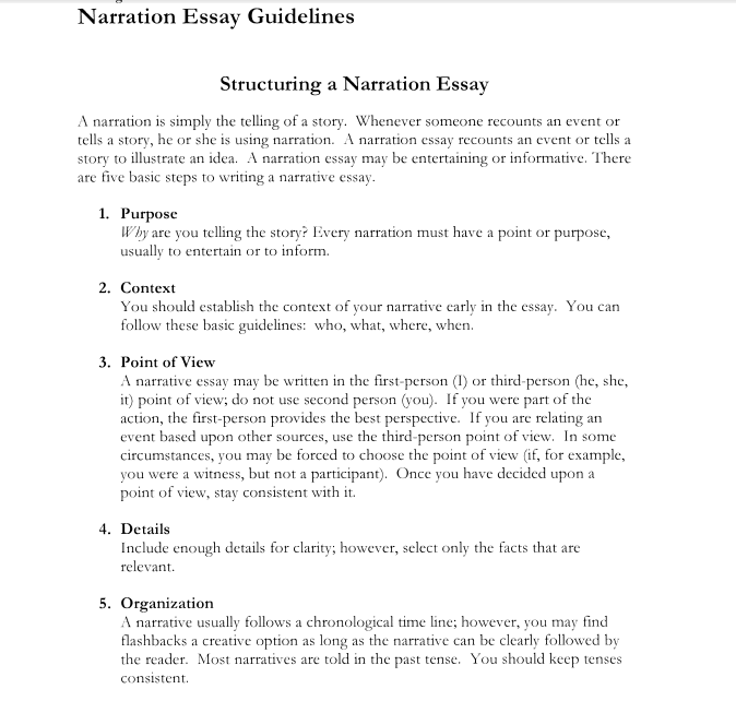 narrative writing narrative essay structure outline